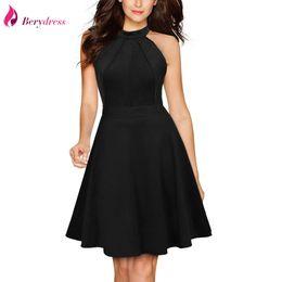 080edd53e6 Black Knee Length Skater Dress Canada - Berydress Cute Women Sexy Halter  Neck Wedding Party Vestidos
