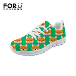 cc42b3ed6e3 Black fox animal online shopping - Forudesigns Green Animal Fox Print Mesh  Shoes for Women Fashion