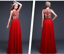 high collar formal evening dresses 2019 - 2019 Free Shipping New High-Quality Red Formal Evening Dresses Round Neck Zipper Handmade Beaded A Long Paragraph Ball D