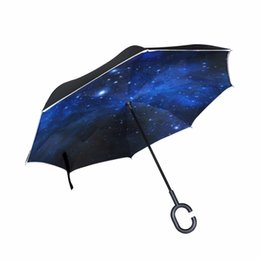 Green Umbrellas Canada - Drop Shipping Milky Way Galaxy Double Layer Car Reverse Umbrella Starry Sky Windproof Inverted Umbrellas
