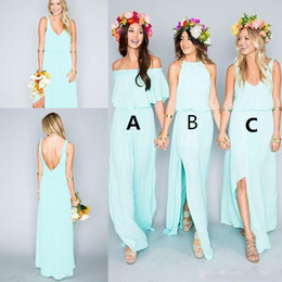 Vente en gros 2019 robes de demoiselle d'honneur de plage Boho une ligne halter longueur de plancher en mousseline de soie côté divisé robes de demoiselle d'honneur sur mesure, plus la taille