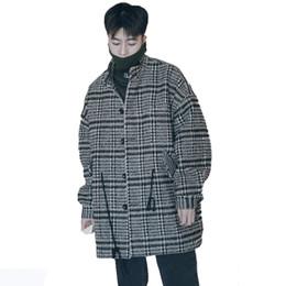 Korean Mens Jackets Coats UK - Korean Wool Coat Men Plaid Lattice Male Overcoat Vintage Winter Long Jacket Men Oversized Check Peacoat Mens Coats And Jackets