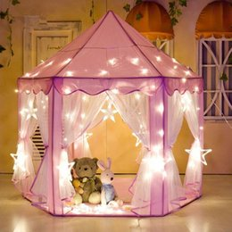 pink tent kids NZ - Girl Princess Pink Castle Tents Portable Children Outdoor Garden Folding Play Tent Lodge Kids Balls Pool Playhouse