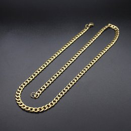 chain necklace boys 2019 - Soul Men Mens Women Hip Hop Curb Cuban Gold  Black Color Figaro Chain Titanium Steel Necklace Boys Girls Jewelry discoun