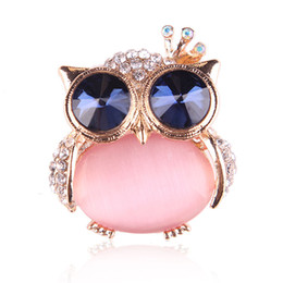 opal brooches 2019 - Pink Opal Stone Owl Brooch Pin Lucky Jewelry Cute Animal Brooches Garment Accessories discount opal brooches