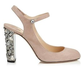 $enCountryForm.capitalKeyWord UK - Nude Black Faux Suede High Heels Sandals Studded Crystal Block Heels Women wedding Shoes Ankle Strap Slingback Women Pumps
