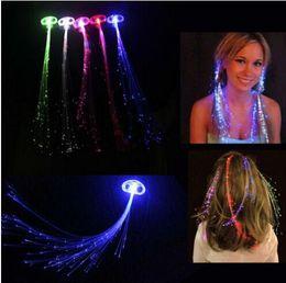 $enCountryForm.capitalKeyWord Australia - Luminous Light Up LED Hair Extension Flash Braid Party Girl Hair Glow by Fiber Optic Christmas Halloween Night Lights Decoration 1806013