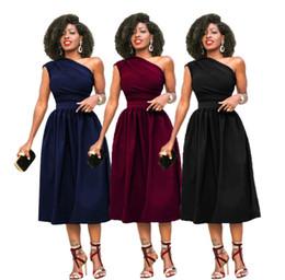$enCountryForm.capitalKeyWord Australia - Plus Size S-3XL One-shoulder Classic Dress 2018 Summer New Solid Color Sloping Shoulder Sexy Dress Fashion Women Clothing Club Party Dress