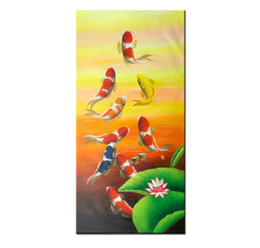 $enCountryForm.capitalKeyWord NZ - Hand Painted Modern Canvas Feng Shui Zen Abstract Wall Art Koi Fish Animal Oil Painting China's wind Asian Home Decoration.Multi sizes AFS02