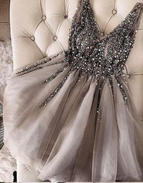 Deep v grey Dress online shopping - 2019 Beading Sequins Prom Homecoming Dresses Short Sexy Silver Grey Sweet Graduation Party Gowns Custom Made