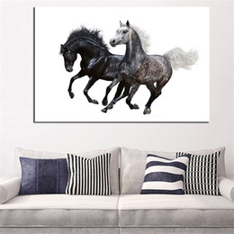 Hd Painting Horse Run Australia - 1 Pcs Two Run Horse HD Printed Canvas Oil Painting Wall Art Picture For Living Room Home Decoration No Framed
