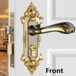 Wholesale colour books online – design Modern fashion golden Mute indoor handle locks bright golden gun colour bedroom book room solid wooden door locks with key