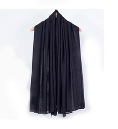 $enCountryForm.capitalKeyWord UK - Autumn New Black Women Cotton Shawl Scarf Europe America Brand Pashmina Wrap Solid Color Muffler Ultra Long Cape NS101