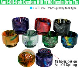 Wholesale Newest Anti Oil Spitting TFV8 Epoxy Resin Drip Tips Wide Bore Dripper Mouthpiece TFV12 Prince Tank No Spit Design Vape e cig Accessories
