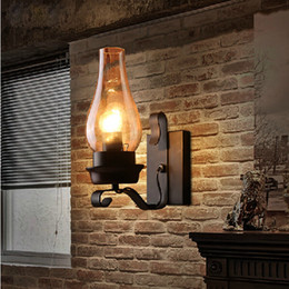 rustic wall sconce lighting 2019 - Retro Rustic Nordic Glass Wall Lamp Bedroom Bedside Wall Sconce Vintage Industrial Wall Light Fixtures Bedroom Aisle Sta