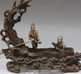Plum blossoms art online shopping - Old China Bronze Silver Plum Blossom Two People Man Woman Rowing Boating Statuehisattva Statue