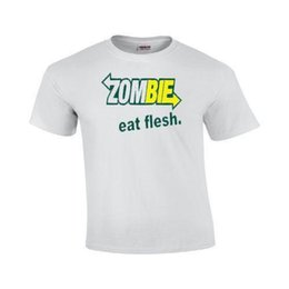 1661f25237242 Men's Zombie Eat Flesh White T-Shirt funny humor subway blood outbreak tee