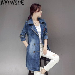 vintage denim trench coat NZ - AYUNSUE Casaco Feminino Denim Trench Coat Korean Style Vintage Womens Trench Coats Woman Clothes Abrigo Mujer Windbreaker KJ131