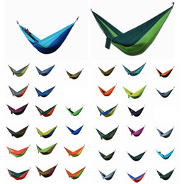 Discount camp swing hammock - Portable Nylon Fabric Double Person Parachute Hammock Garden Outdoor Camping Safe Hanging Bed Kids Sleep Swings DDA770