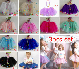 baby girl tutu dresses rainbow NZ - 3pcs set girl tulle skirts fluffy baby tutu skirt rainbow pom poms pettiskirt necklace bracelet ballet tutu skirt girls birthday party dress
