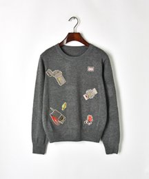 Lighter print online shopping - Gray Long Sleeves Lighter Embroidery Women s Sweaters Brand Same Style Pullovers Women DH081423