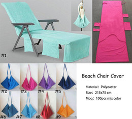 beach towels straps NZ - Microfiber Beach Chair Cover Beach Towel Pool Lounge Chair Cover Blankets Portable With Strap Beach Towels Double Layer Blanket
