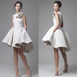 Discount dresses for prom ball - 2018 White Lace Short Cocktail Dresses Juniors Krikor Jabotian Elegant Cheap Hi Low Party Prom Dresses Bling Homecoming