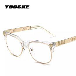 Designer plain glasses online shopping - YOOSKE Fashion Clear Sunglasses Women Men Optics Prescription Spectacles Frames Vintage Plain Glass Eyewear Women Brand Designer