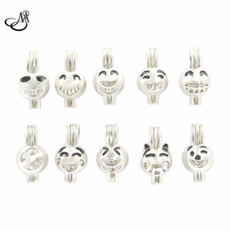 cage pendants wholesale NZ - 10Style Sier plated emoticons cage locket pendant Pearl Cage Jewelry Making Beads Cage Essential Oil Diffuser Locket Necklace