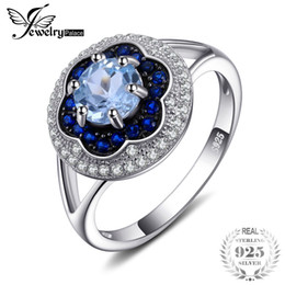 Sky Blue Ring NZ - Jewelrypalace Spark Flower 1ct Genuine Sky Blue Topaz Created Blue Spinel Cluster Halo Rings 925 Sterling Silver Gifts For Mom Y1892704