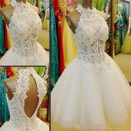 Wholesale New Cheap Puffy Short White Homecoming Dresses Lace Corset Bodice Ball Gowns Graduation Dress Grade Prom Party Gowns Open Back Party Gown