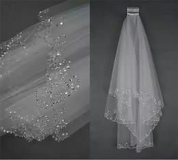 Beaded Veils White Australia - Beaded Vintage 2018 Cheap In Stock Bridal Veils Bridal Wedding Accessories Long Edged Formal Wedding Veils 053