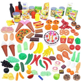 Wholesale 130pcs Food Fruit Cake Vegetable Toy Miniature Pretend Play Kitchen Plastic Educational Toy Hot Dog Pizza for Boy Girl Children Gifts