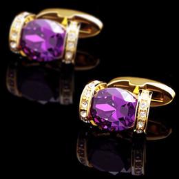$enCountryForm.capitalKeyWord Canada - KFLK luxury 2018 shirt cufflink for women hot Brand cuff button Purple Crystal cuff link High Quality Gold abotoadura Jewelry
