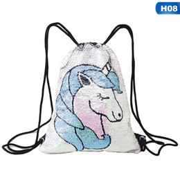 Hot Sale Unicorn Heart Snowflake Pineapple Sequin Backpack Drawstring Bag  For Girl School Bag Kids Bags Drop Shipping 003a3447df58f