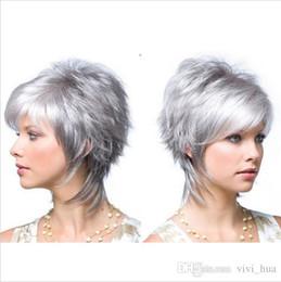 Black white mixed short wigs online shopping - Silver Gray Short Wigs for White Black Women Synthetic High Heat Fiber Peluca Corta Rubias Perruque Peruca Pruiken Peruk