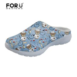 nude sandals beaches 2019 - FORUDESIGNS Slippers Women Blue Cute Nurse Bear Pattern Summer Women's Home Slippers Breathable Mesh Beach Sandals