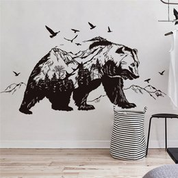 $enCountryForm.capitalKeyWord NZ - large black Bears Fish Mountain wall sticker art decals diy home decor new design Vinyl wall Tattoo vinilos paredes Mural D859