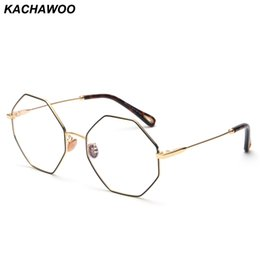 25d6d597f12 Kachwoo wholesale 6pcs fashion optical eyeglasses frame women computer  polygon big vintage octagonal glasses frames for men gold