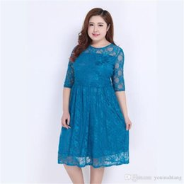 $enCountryForm.capitalKeyWord NZ - Wholesale Free Shipping 3XL Big Size Half sleeves Lace Knee Length Casual Big Size Women Office Vintage Vestidos Dress