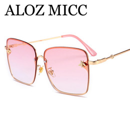 aed6a55bfe ALOZ MICC 2018 Unique Small bee Square Sunglasses Women Men Brand Designer  Vintage Sun Glasses Female Tint UV400 Eyeglasses A480