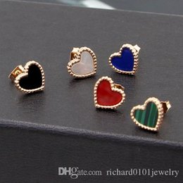 black agate heart NZ - Hot Sale Titanium steel Heart Love studs earrings female models Korean version rose gold black agate onyx shell mini earrings wholesale