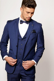 Mens Blue Check Suit Canada - Custom Made Blue Groom Tuxedos High Quality Mens Wedding Prom Party Suits Notch Lapel Groomsmen Wear Best Man Suits (Jacket+Pants+Vest+Tie)
