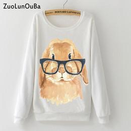 Flannel Sweatshirts Canada - Zuolunouba Cute glasses rabbit print Woman Hoodies Sweatshirt 2018 Winter Soft Flannel Warm Casual girl Pullover Long sleeve top