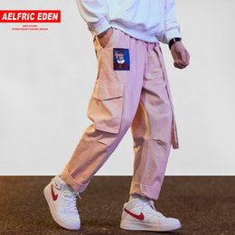 Pink Sweat Pants NZ - Aelfric Eden Men Joggers Hip Hop Harem Sweat Pants Male Ribbons Letter Embroidery Casual Trousers Popular Pink Cargo Pants UR45 C18110901