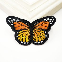Wholesale kids clothes patches resale online - Yellow Butterfly Embroidery Patches For Clothing Sew Iron On Applique Patch Cute DIY Badge Kids Garment Jeans Hat Bag Decoration