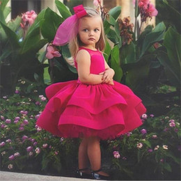 Images for lovely baby online shopping - Lovely Short Flower Girl Dresses For Wedding Jewel Tiered Puffy Girls Pageant Dress Knee Length Tulle Satin Ball Gown Baby Birthday Gowns