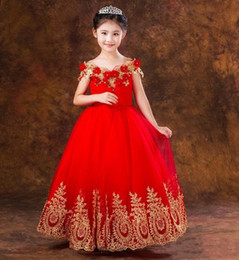 $enCountryForm.capitalKeyWord NZ - Princess Red Tulle Flower Girls' Dresses for Weddings with Lace Applique Off Shoulder Baby Toddler Pageant Gowns