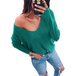 $enCountryForm.capitalKeyWord NZ - S-3XL Women Baggy T-Shirt Sexy Deep V Neck Loose Basic Tops Autumn Spring Long Sleeve Solid T Shirts Plus Size Tee Shirt Femme