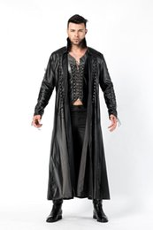 China faux leather pvc long gothic coat fancy dress for men Halloween Party Dracula Vampire Costumes Outfit Fancy Devil Cosplay Dresse supplier pvc outfits dresses suppliers